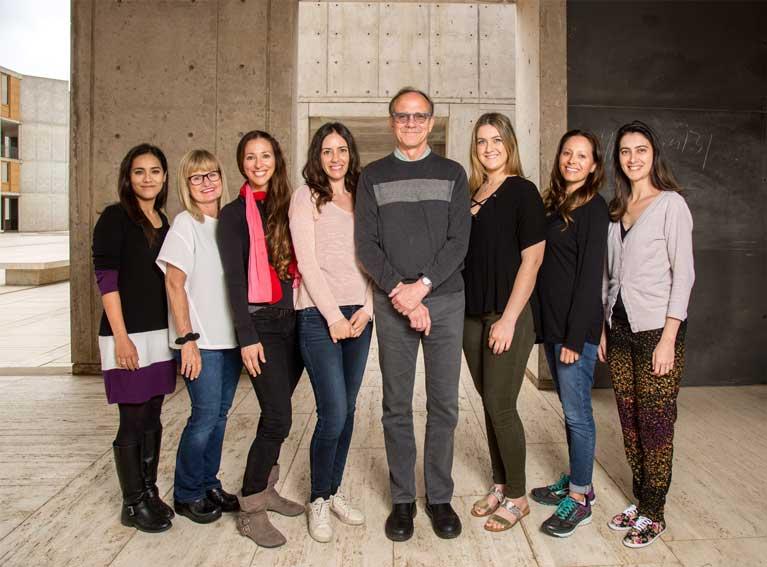 From-left--Krishna-Vadodaria,-Lynne-Moore,-Carol-Marchetto,-Arianna-Mei,-Fred-H.-Gage,-Callie-Fredlender,-Ruth-Keithley,-Ana-Diniz-Mendes-grid