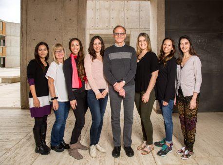 From left: Krishna Vadodaria, Lynne Moore, Carol Marchetto, Arianna Mei, Fred H. Gage, Callie Fredlender, Ruth Keithley, Ana Diniz Mendes.