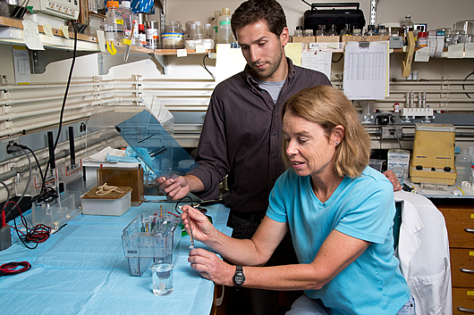 Research associate Antonio Currais and Pamela Maher, senior staff scientist, Laboratory of Cellular Neurobiology.