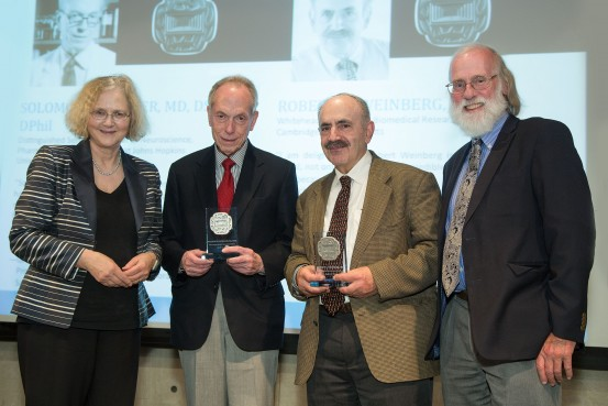 Elizabeth Blackburn, Solomon Snyder, Robert Weinberg and Tony Hunter