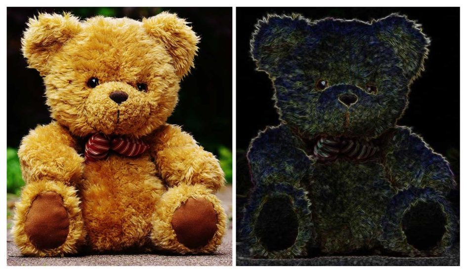 The illustration on the right shows how the brain's V1 and V2 areas might use information about edges and textures to represent objects like the teddy bear on the left.