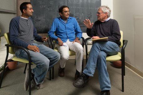 From left: Saket Navlakha, Sanjoy Dasgupta, Charles Stevens