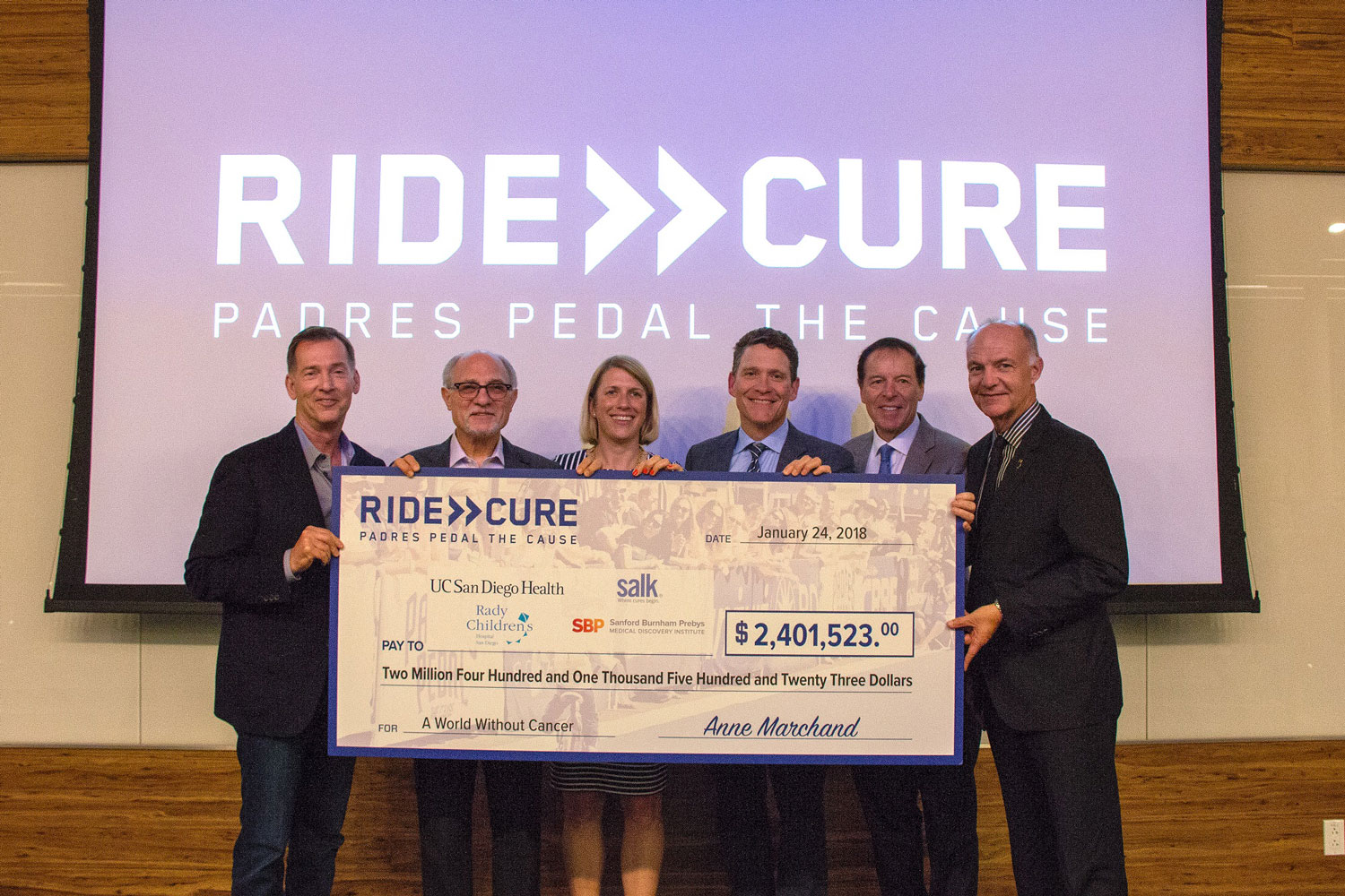 Salk institute for biological studies padres pedal 2017 donation check 767 fandeluxe Images