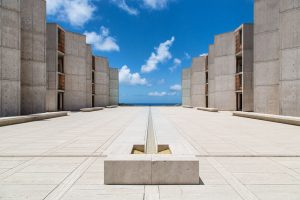 The Salk Institute's iconic courtyard and buildings designed by architect Louis Kahn.