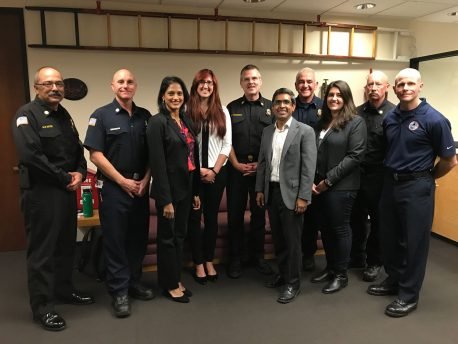 From left, members of the Salk-UCSD-SDFD firefighter wellness study: Kevin Ester, John Cerruto, Pam Taub, Adena Zadourian, Brian Fennessy, Satchidananda Panda, David Picone, Emily Manoogian, Chris Webber and Kurtis Bennett.