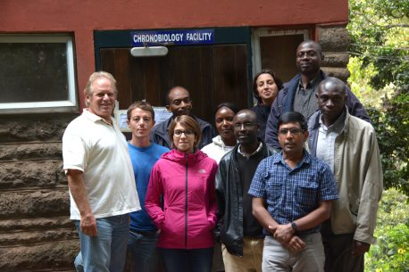 The research team pictured in front of the chronobiology facility established by Dr. Howard Cooper at the Institute of Primate Research in Nairobi, Kenya.