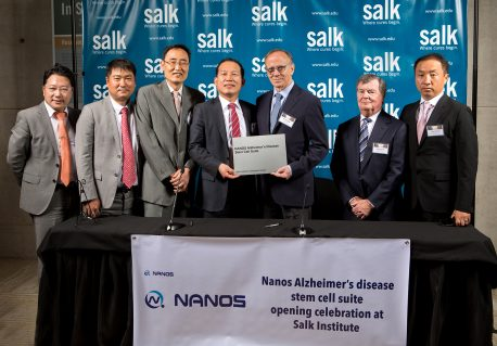 From left: Jason Seo, Co-Founder of One Holding Group LLC; Jin Ho Han, Vice President of NANOS Co. Ltd; Ki Tae Kim, Vice Chairman of S&W Group; Soon-Gil Yang, Chief Executive Officer of NANOS Co. Ltd.; Rusty Gage, President of Salk Institute; Dan Lewis, Chairman of Salk Institute; Alex Myung, Co-Founder of One Holdings Group LLC.