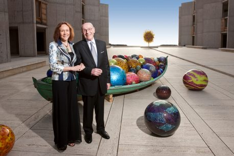 Suzanne Bourgeois-Cohn and Mel Cohn at the Salk Institute's Chihuly exhibit, 2010