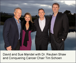 David and Sue Mandel with Dr. Reuben Shaw and Conquering Cancer Chair Tim Schoen